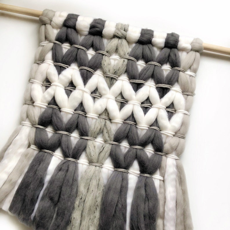 Medium woven wall hanging / Wool roving tapestry / Woven wall image 0