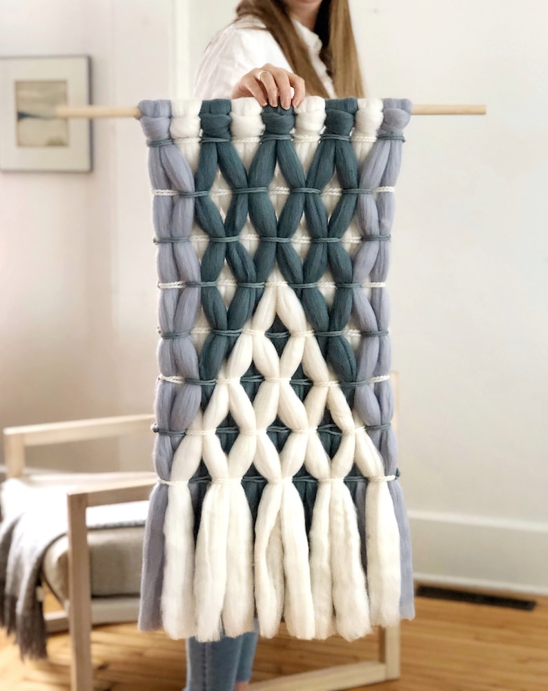 Large woven wall hanging / Wool roving tapestry / Woven wall image 0