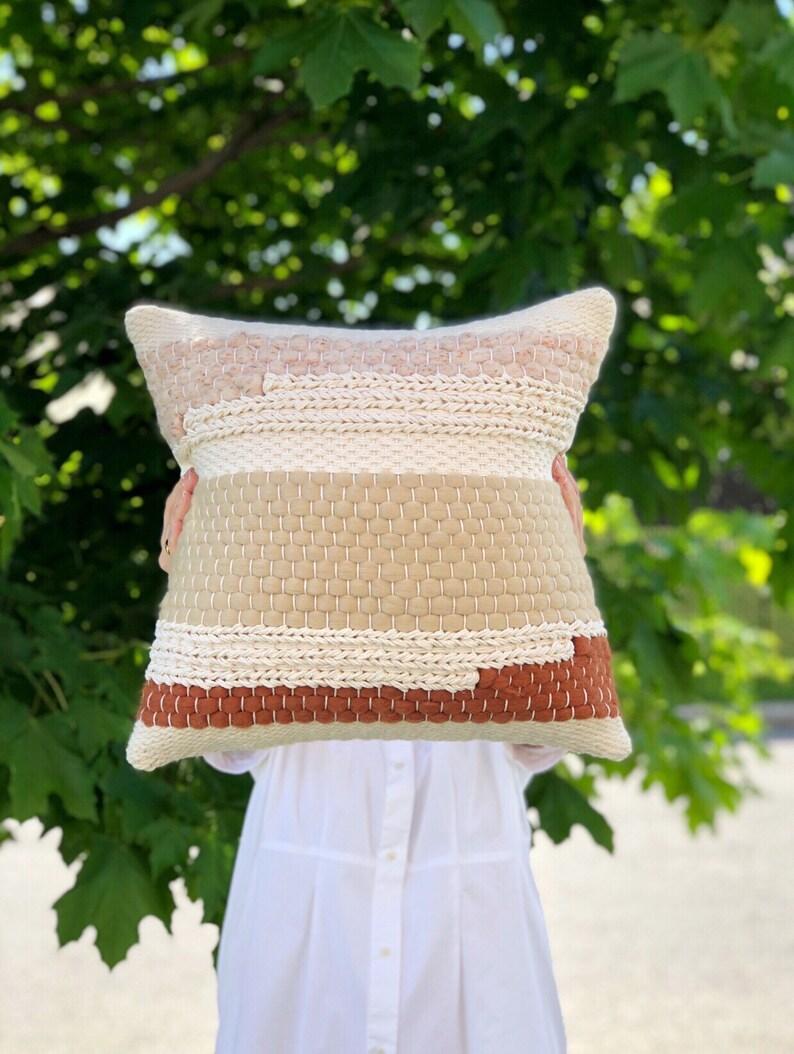 Handwoven pillow / Striped throw pillow / Woven decorative image 0
