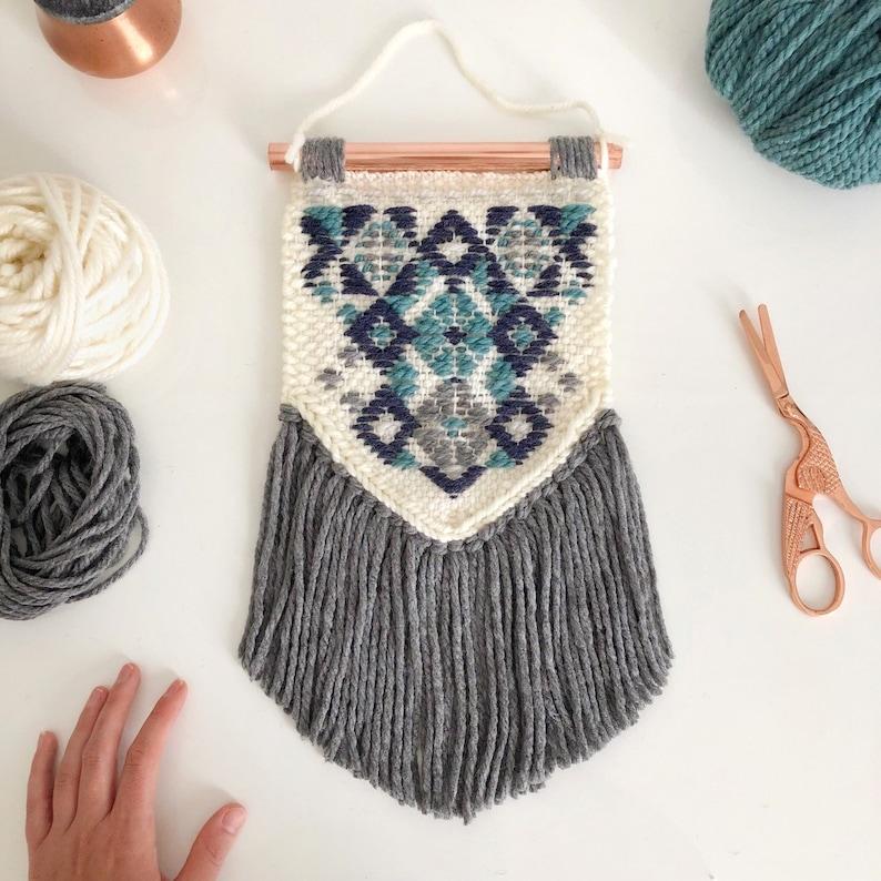 Small woven wall hanging / Geometric patterns woven wall art / image 0