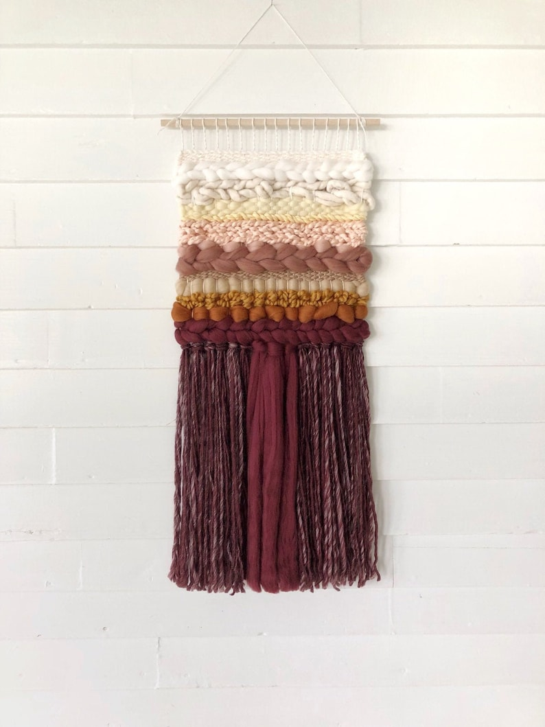 Medium woven wall hanging / Merino wool roving tapestry / image 0