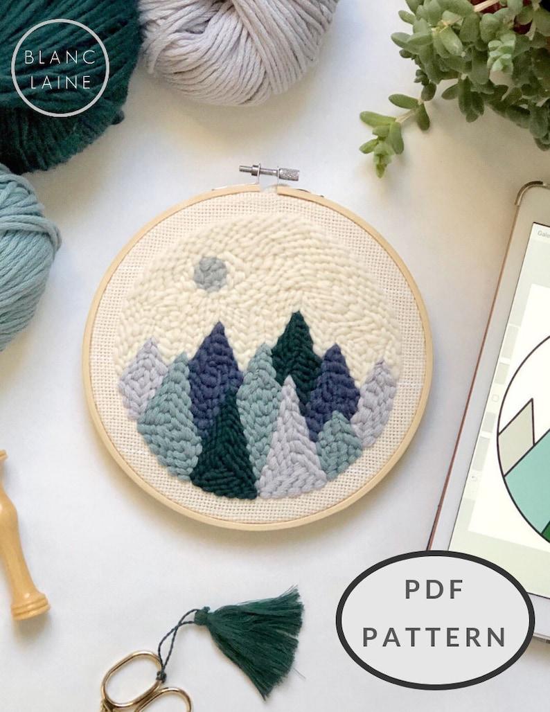 PDF FILE / Punch needle mountain pattern / Punch needle design image 0