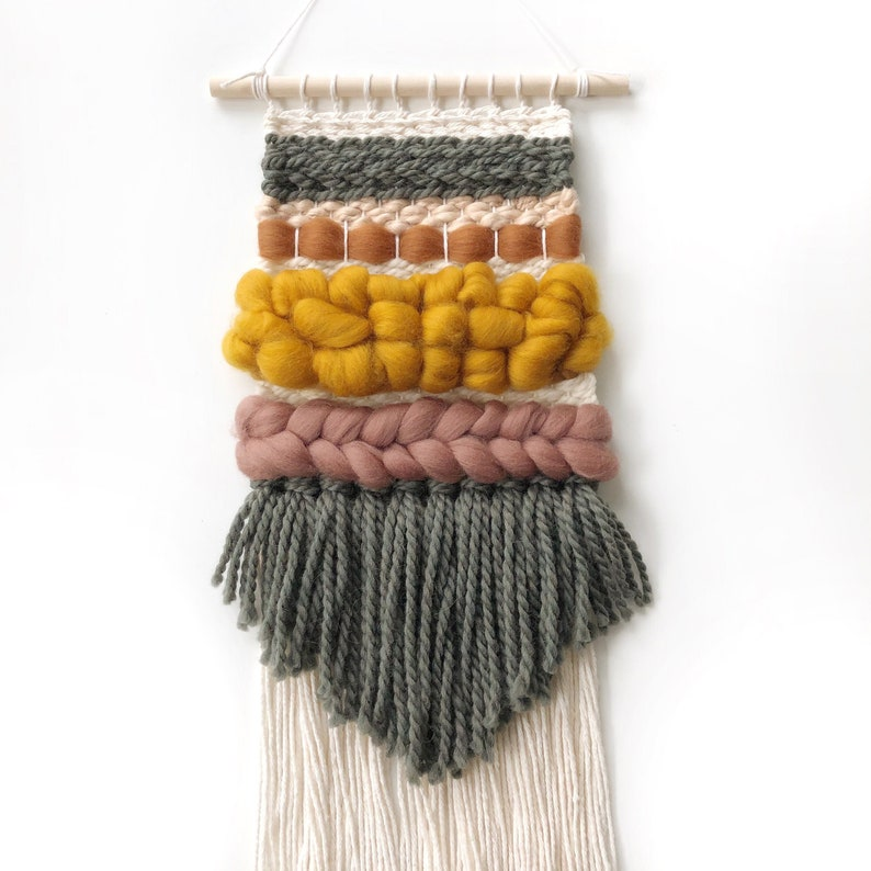 Small woven wall hanging / Merino wool roving tapestry / image 0