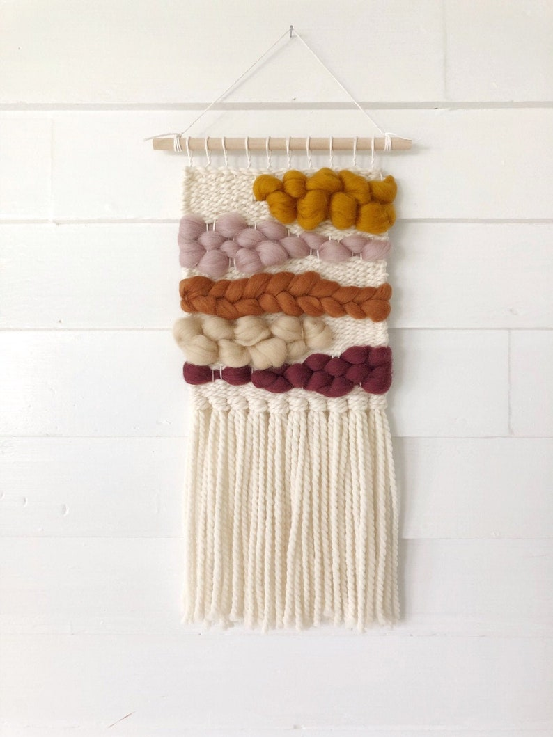 Small woven wall hanging / Merino wool roving tapestry / Girl image 0