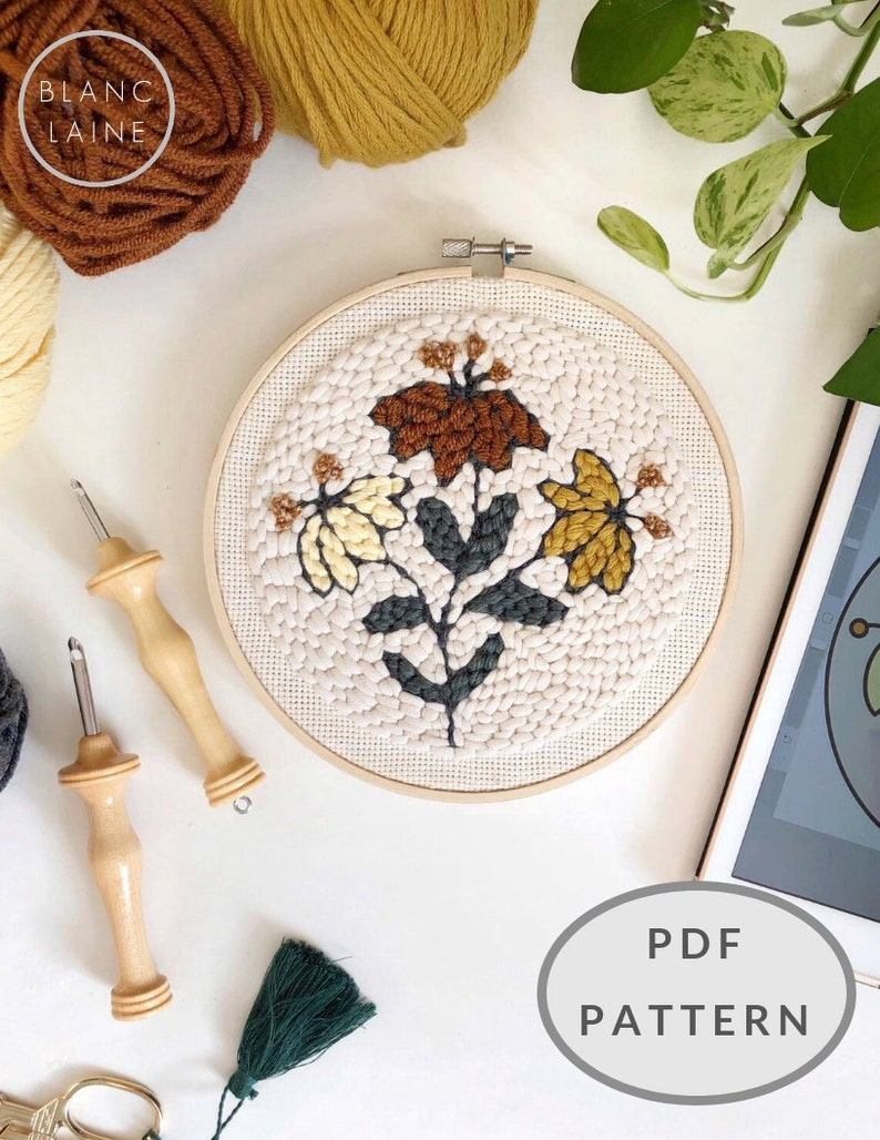 PDF FILE / Punch needle flower pattern / Punch needle design / image 0