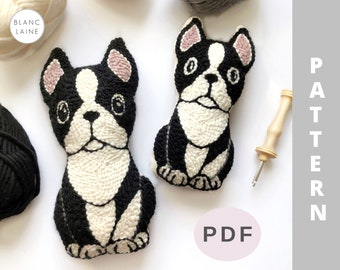 PDF FILE ONLY / Punch needle dog pattern / Boston terrier plushie / Punch needle plush toy / Dog plush toy / Rug hooking dog pattern