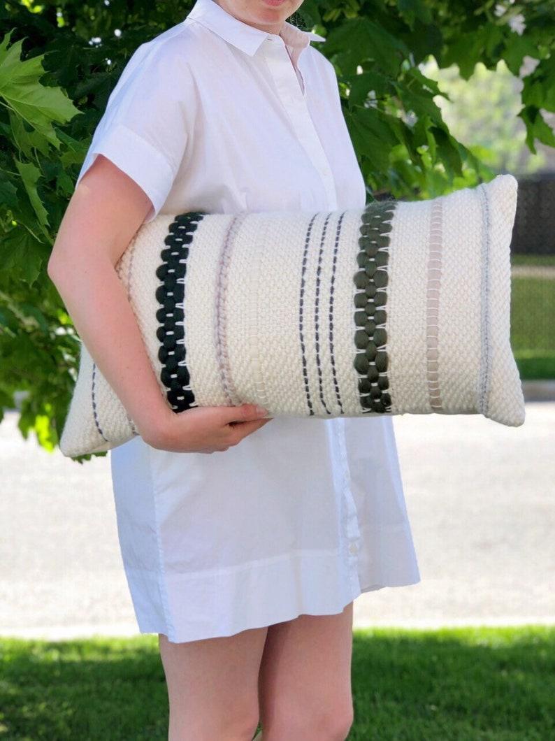 Handwoven pillow / Striped lumbar throw pillow / Woven image 0
