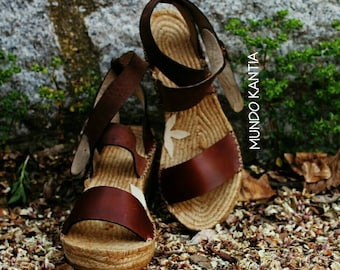Espadrille sandals wedge half height 6cm of adjustable | Etsy