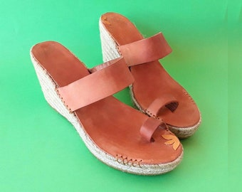 OUTLET 40% espadrill/ Size 39eu/ Discount espadrille high wedge destalonada/ Sandal espadrille descalza tiras/ Wedge esparto orange color
