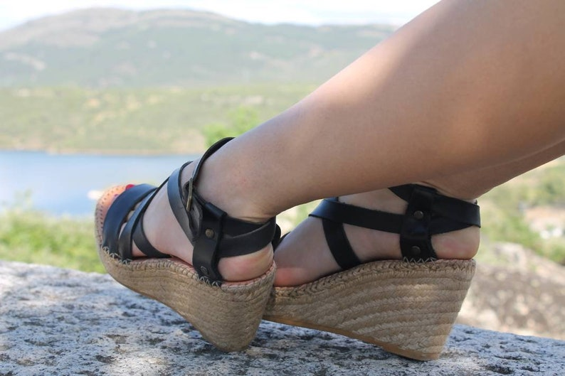 Wedge cross straps.Esparto wedge.Leather natural espadrille. image 0