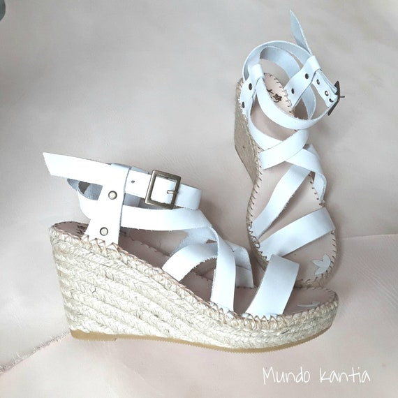 Espadrilles bride strips. White wedgees. Espadrilles crossed white strips. Wedding wedge sandals. Bridal leather espadrilles.