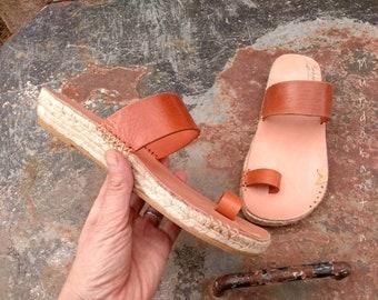 OUTLET 40% espadrille/ Size 39 eu/ Discount undercut espadrille/ Sandal espadrille barefoot strips/ Discount espadrilles natural leather