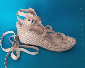 OUTLET 40% high wedge/ Size 36 eu/Espadrille blanca cuña/ Discount espadrille cuñas adjustable cross strips/ Gladiating sandal high wedge