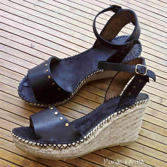 Espadrilles sandals with rivets. High wedge espadrilles 10 cm. Sandals wedge black. Espadrilles jute natural. Size 35 to Size 42