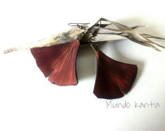 Ginkgo leaf Earrings. Skin earrings. Leather Ginkgo leaf Earrings. Free National Shipping