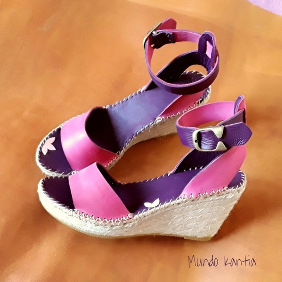 Via Uno Boots Leather Purple High Heels Soles Wedge T 37