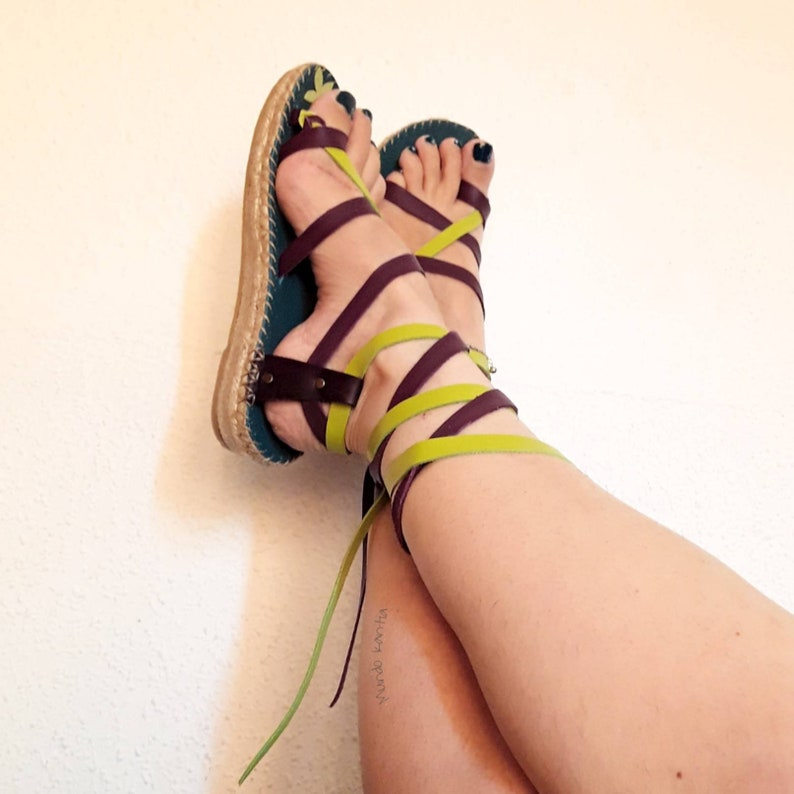 Espadrilles cross-striped No Green and purple sandal Cross-striped sandal Gladiator sandal with cross straps 35a42