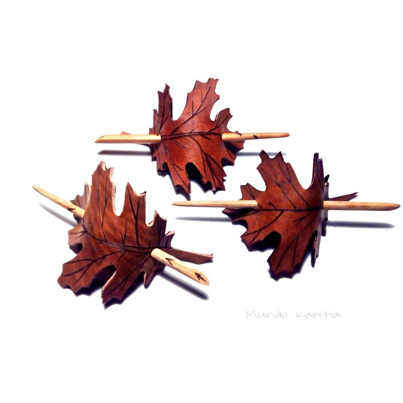 Oak leafy hair pin. Hair pin with wooden skewer. Accessory image 0