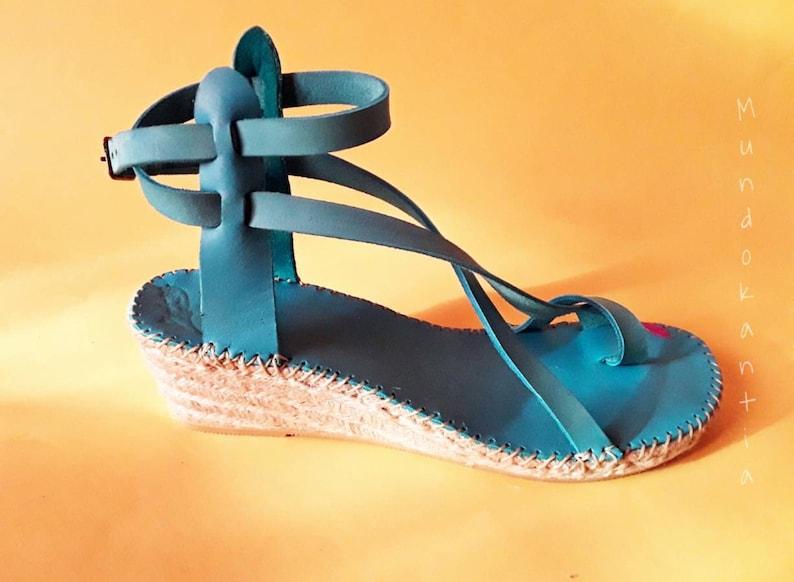 Espadrille strips crossed skin. Sandal sprille straps with image 0