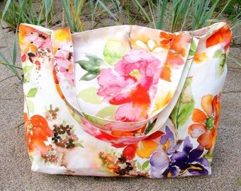2eb30fba867 Weekend tote Floral tote bag Gift for mother Large Beach bag floral Gift  for wife Zipped tote large Beach bag colorful Gym bag Gift for her