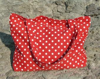 Polka dot bag Beach tote Red Gift for her tote Shopping bag Shoulder bag Large bag for summer Zipped tote Large beach bag Red shoulder bag