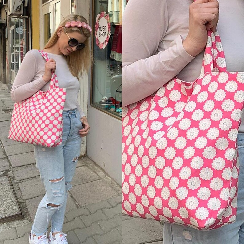 Shopping Bag Fully Lined Summer Daisies Handmade Tote