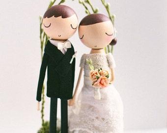 Wedding Cake Topper,Rustic Wedding Cake Topper,Cake Topper,Wooden Cake Topper,Wooden Peg Doll,Personalized,Boho cake topper