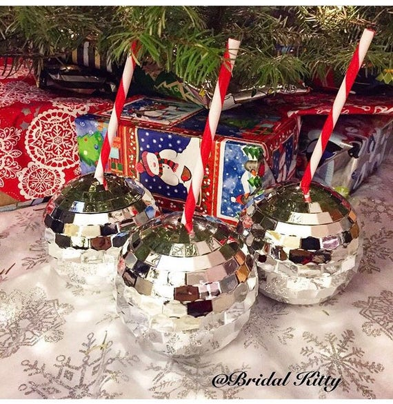 Christmas Disco Ball.Christmas Disco Ball Tumbler Holiday Party Drink Cup W Custom Bling Or Candy Stripe Straw Christmas Party Gift Decorations Table Drinkwear