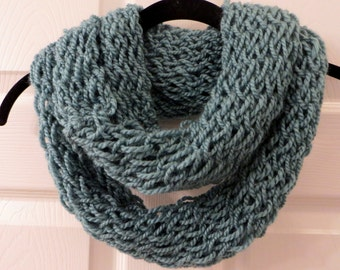 Handmade Teal Finger Knit Infinity Scarf