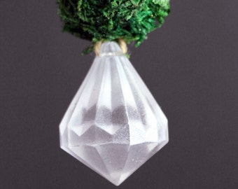 Moss & Gem Frost Ornaments - hanging decor, moss ornament, gemstone decor, wedding decor, window charm, eco holiday, winter wedding, diamond