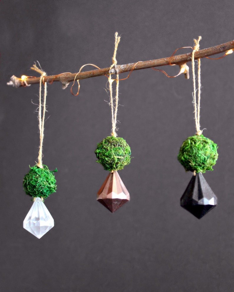 New Years luck charm moss ornament hanging decor eco holiday wedding decor rose gold decor Moss /& Gem Rose Gold Ornament window charm