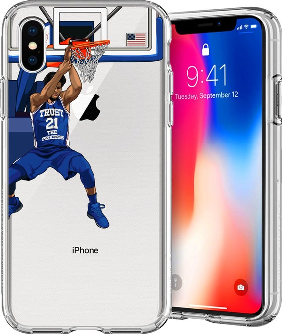 Joel Embiid Basketball Series Clear TPU Case for Apple iPhone XS/XS Max; X; 8/8 Plus; 7/7 Plus; 6s/6s Plus; 5s/5SE