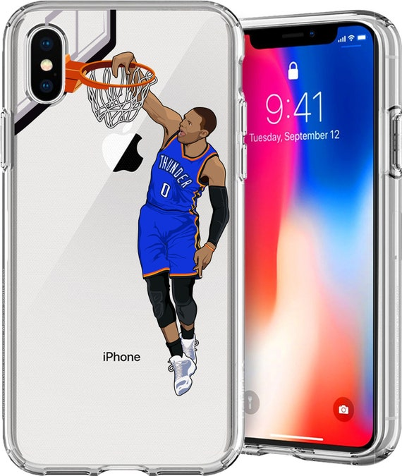 Russell Westbrook Basketball Series Clear Tpu Case for Apple iPhone XS/XS Max; X; 8/8 Plus; 7/7 Plus; 6s/6s Plus; 5s/5SE