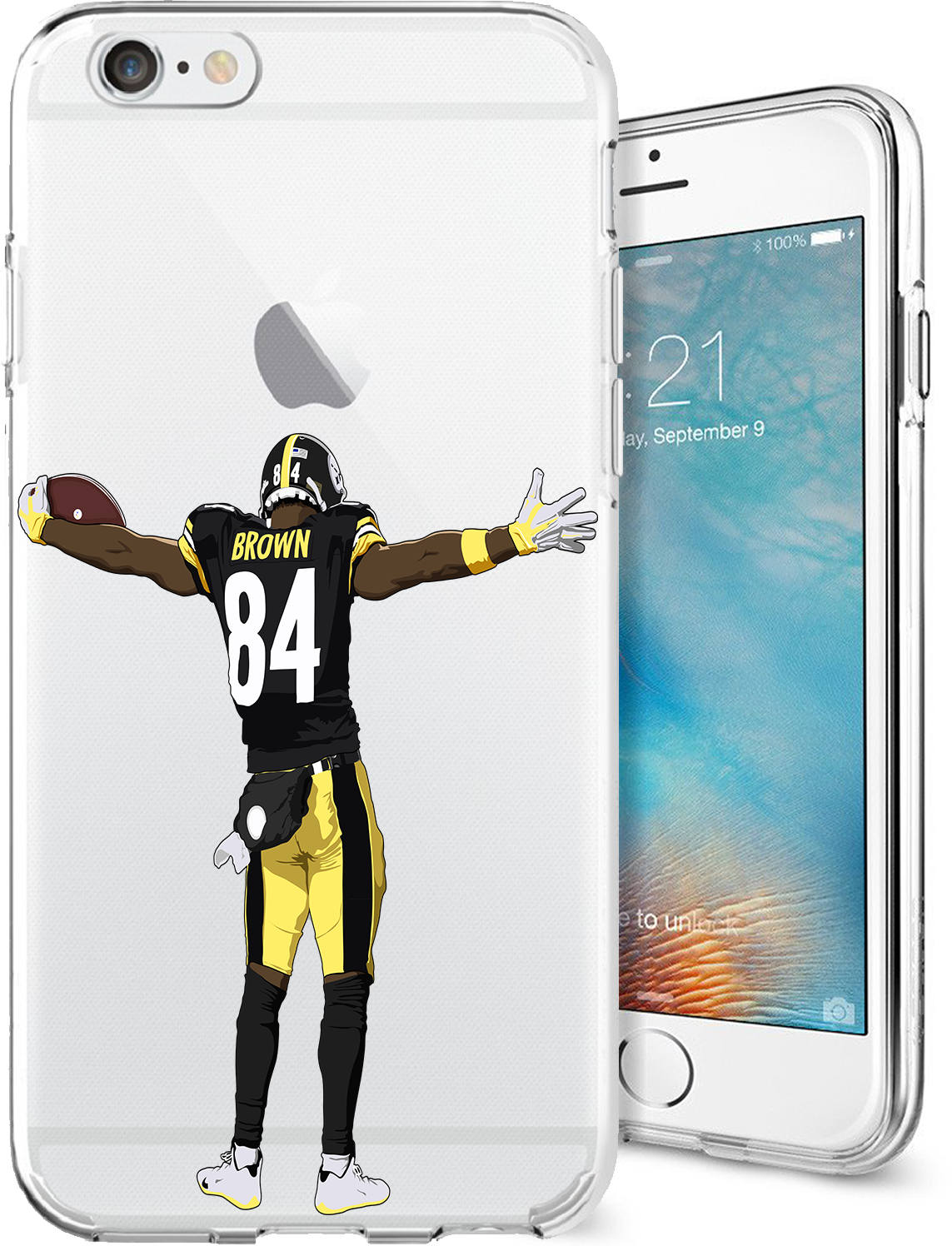 purchase cheap aa8a0 206bc Antonio TD Brown Football Series Clear Tpu Case for Apple iPhone X; 8/8  Plus; 7/7 Plus; 6s/6s Plus; 5s/5SE
