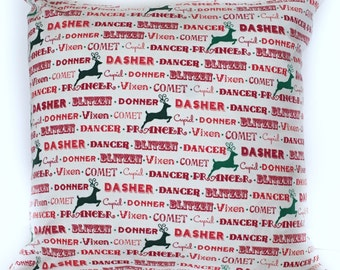 Christmas Throw Pillow, Reindeer Names Pillow, Holiday Pillow Cover, Invisible Zipper, Holiday Decor, Christmas Decor, Made in USA