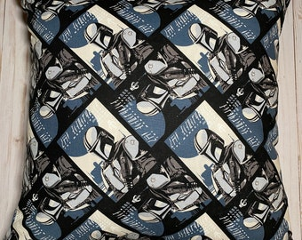 Mandalorian Throw Pillow, Star Wars Pillow Cover,  Star Wars Fan Gift, Invisible Zipper, Gifts for Him or Her, Made in USA