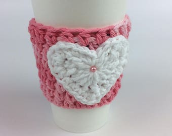 Crocheted Valentine Cup Cozy - choose your colors!
