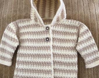 Crocheted Unisex Infant Hooded Sweater-Jacket