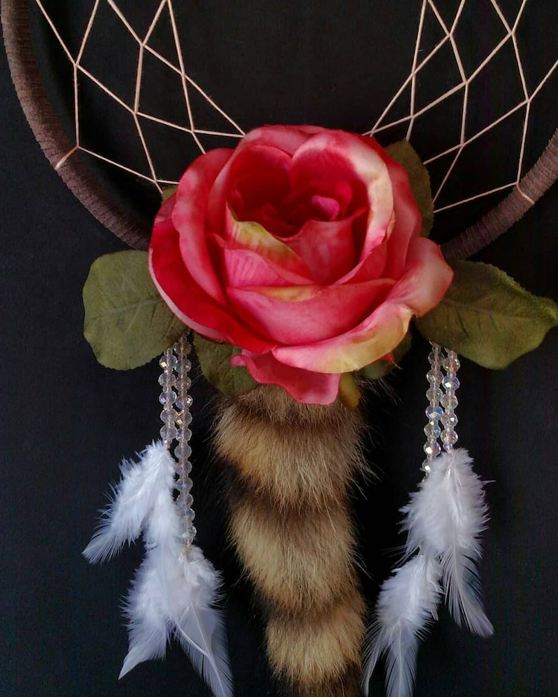 Pink Rose and Blonde Raccoon Tail Dreamcatcher