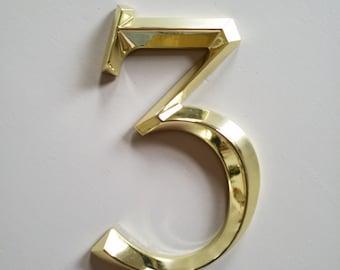 "Brass Finish Address Number ""3"""