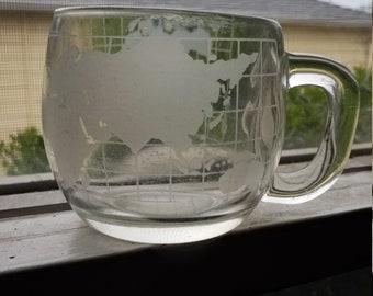Vintage Nestle World Globe Glass Coffee Mug