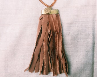 Tiger's Eye Sari Tassel Necklace