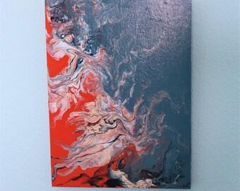 Orange and Blue Smoke Wood Panel Painting