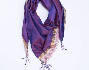 Royal in Purple Square Style:  a Laura Eastman Exclusive Beaded Scarf