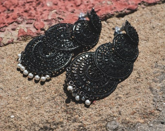 Black Layered Earring
