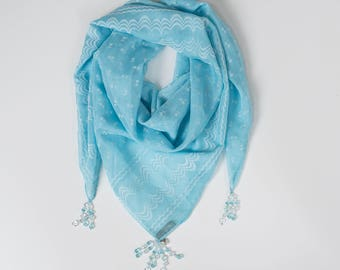 Hopeful Sky Square Style:  a Laura Eastman Exclusive Beaded Scarf