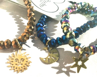 Sun, Moon, & Star Stretch Bracelet Set (set of 3)
