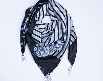 White Rose: a Laura Eastman Exclusive Beaded Square Scarf