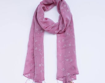 Pink Blossom:  a Laura Eastman Exclusive Beaded Scarf