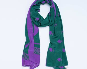 Purple Spade:  a Laura Eastman Exclusive Beaded Scarf